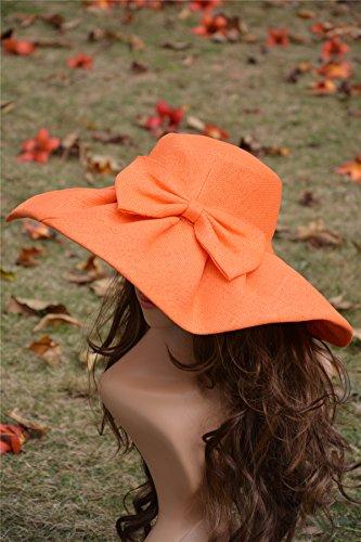 Lawliet Brim Womens Beach Derby Linen A047 Church Sun Hat Summer Orange Kentucky Sea Wide YrAqrZxw