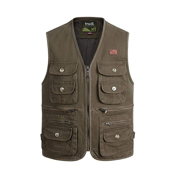 Color : Khaki, Size : L Pocket vest Polyester Summer and Autumn Mens Sports and Leisure Multi