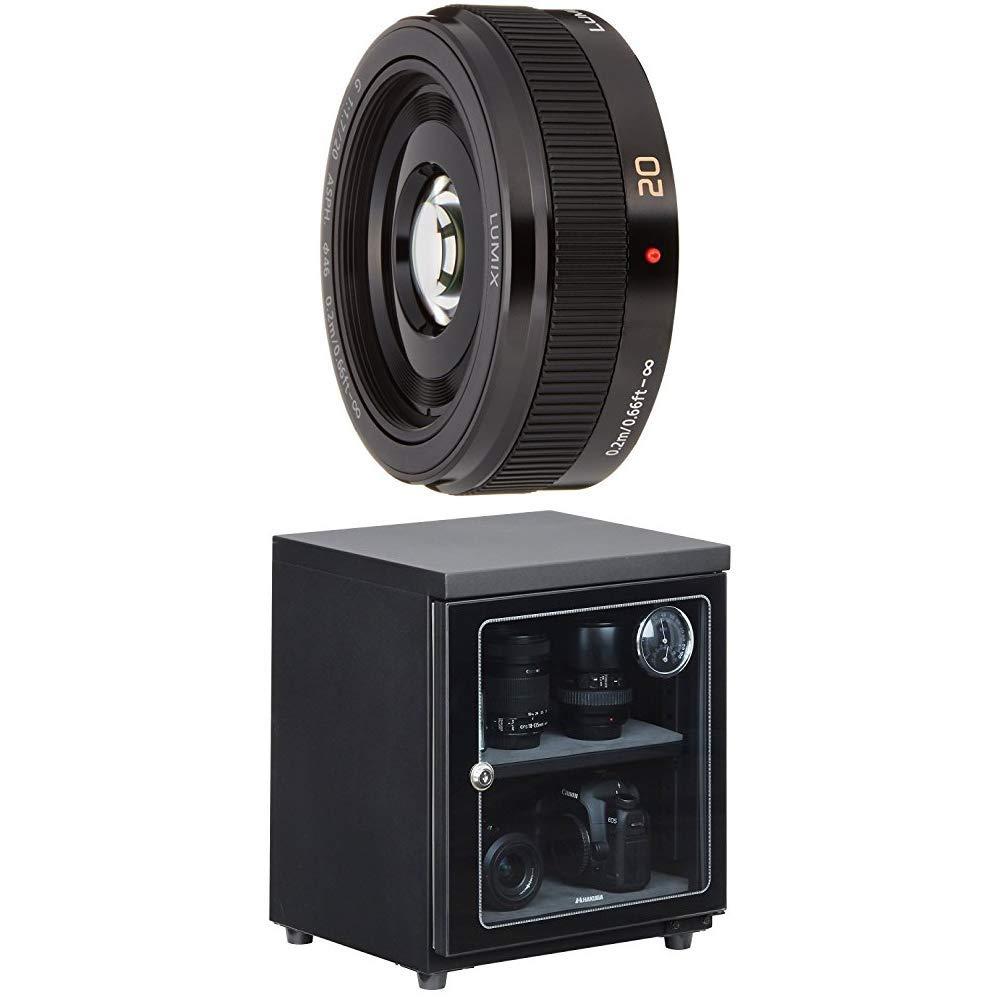 パナソニック 単焦点レンズ マイクロフォーサーズ用 ルミックス G 20mm/F1.7 II ASPH. ブラック H-H020A-K + HAKUBA 電子防湿庫 E-ドライボックス 40リットル KED-40セット   B07KSBJGZ7