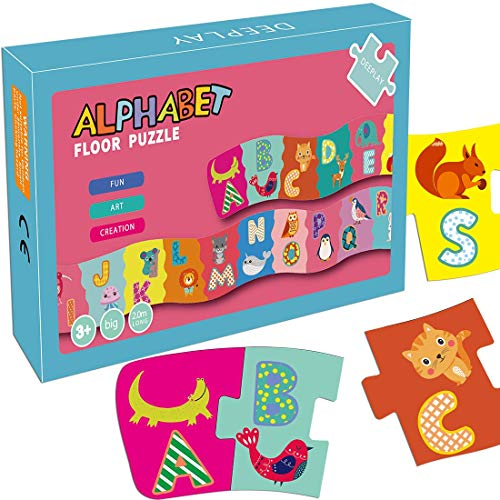 WAVEJOE 6.5ft Long Alphabet Puzzle Floor Cards Game Letters Animals Recognition Memory Educational Puzzle Game for Kids