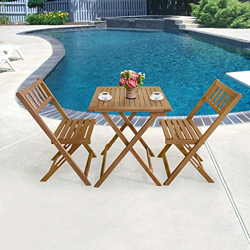 3-Piece Acacia Wood Folding Patio Bistro Set Outdoor Bistro Set Table and Chairs Set with 2 Chairs and Square Table for Pool Beach Backyard Balcony Porch Deck Garden Wooden Furniture, Natural Oiled