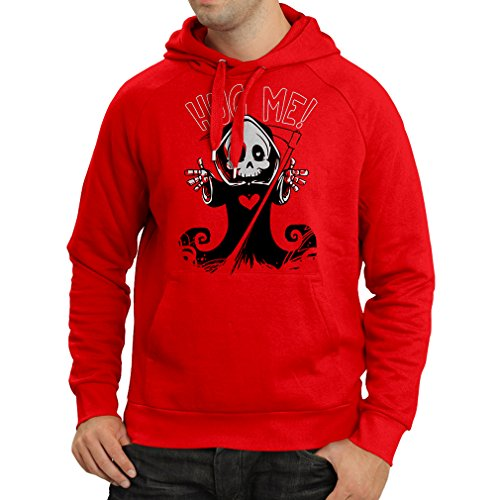 Hoodie The Death is Coming! Halloween Skeleton Clothes, Evil Skull Sickle (Small Red Multi Color) -