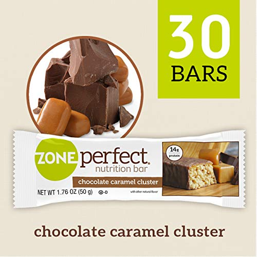 ZonePerfect Nutrition Snack Bars, Chocolate Caramel Cluster, 14g high-quality protein, 1.41 oz, 30 count (Best Quality Protein Bars)