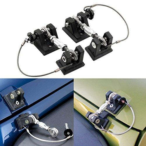 Allinoneparts Jeep Wrangler Hoods Catch Sets Hood Latch Lock Without Key Retro Black Steel Jeep Wrangler Accessories JK JKU & Unlimited Rubicon Sahara Sports,2007-2018,Stainless Steel(Pair)