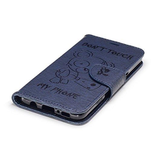 YHUISEN Oso lindo de la historieta grabó en relieve la serie Caja protectora de cuero de la PU del tirón de la PU con el acollador / ranura para tarjeta / soporte para Samsung Galaxy S8 ( Color : Rose Dark Blue