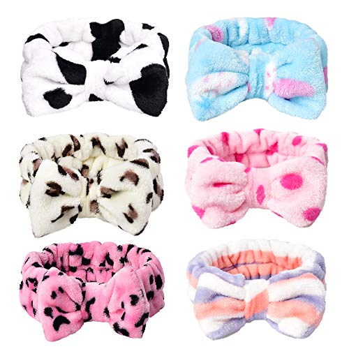 HUIANER Cute Bow Headbands Coral Fleece Elastic Bowknot Hair Band For Women Washing Face Makeup Cosmetic Spa Yoga Sports Shower, Pack of 6(Multiple Styles)