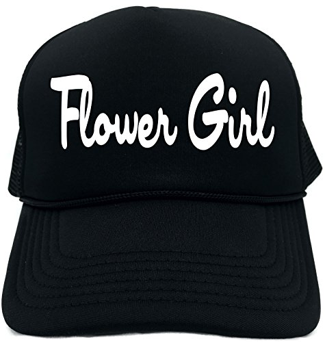 Hat Embellished Flower (Funny Trucker Hat (FLOWER GIRL) Wedding Bridal Party Unisex Adult Foam Retro Cap)