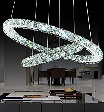 Siljoy Modern Galaxy Round Rings Crystal Chandeliers LED Pendant Lights Ceiling Fixtures Adjustable Stainless Steel Cable Chandelier Lighting for Dining Room 15.7-23.6 Inches , Cool White
