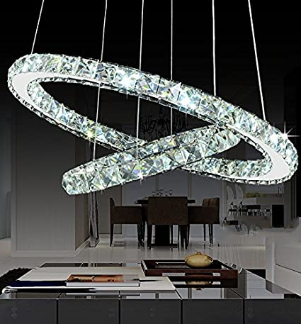 Siljoy Modern Galaxy Round Rings Crystal Chandeliers LED Pendant Lights  Ceiling Fixtures Adjustable Stainless Steel Cable Chandelier Lighting for  ...