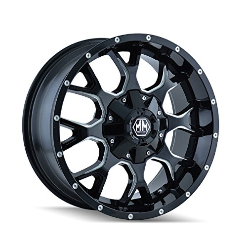 Mayhem Warrior 17 Black Milled Wheel / Rim 5×5 & 5×5.5 with a 18mm Offset and a 87 Hub Bore. Partnumber 8015-7952M18