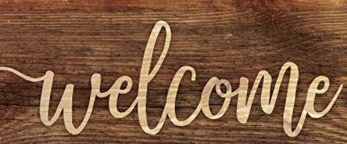 P. GRAHAM DUNN Welcome Script Design Brown 3 x 6 Inch Solid Pine Wood Farmhouse Stick Sign