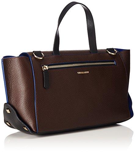 Trussardi 76B244, Borsa a mano Donna, Cioccolat/Blu, 29 cm