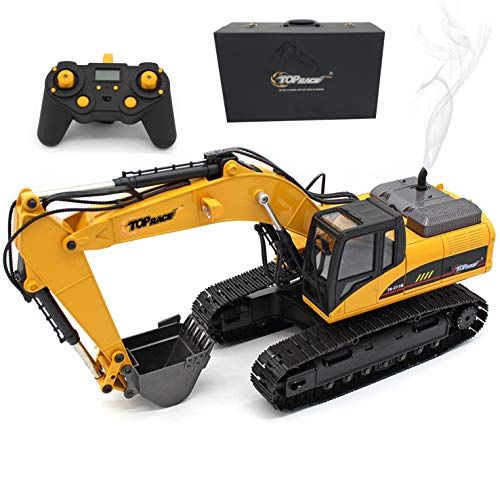 Top Race 23 Channel Full Functional Remote Control Excavator Construction Tractor, Full Metal Excavator Toy Can Carry up to 180 Lbs, Digging Power of 1.1 Lbs Per Cubic Inch, Real Smoke, V.3 TR-211M for $<!--$539.00-->