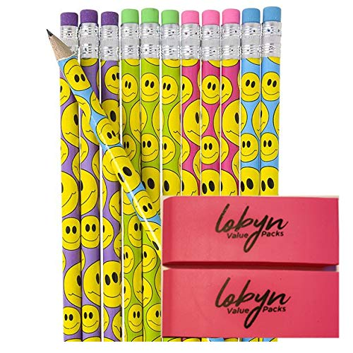 (7.5 inches Assorted Colorful Pencils Pack Of 72 Perfect For Teachers Children And Classrooms w/ 2 Pink Eraser By Lobyn Value Packs (Smile Face))
