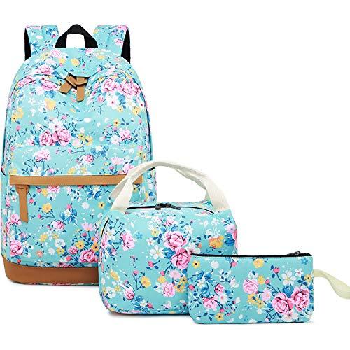 Girls Backpack for School Lightweight Bookbag Teen Girls School Bag Set (Floral-Light Green) ()