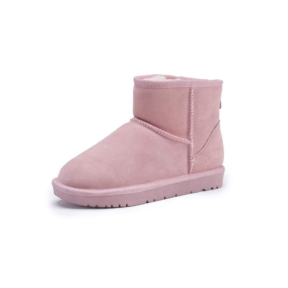 FF Schneeschuhe Weibliche Kurze Stiefel Warme Student Baumwolle Schuhe Student Warme Verdicken Plus SAMT Echtem Leder Rindsleder Flache Rutschfeste damenstiefel (Farbe : Pink, Größe : EU39/UK6.5/CN40) - b80413