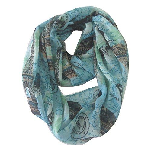 DONGYA Infinity Scarf ,Women's Paris Eiffel Blue Neckerchief , Lightweight Thin viscose Breathability for (Paris Scarf)
