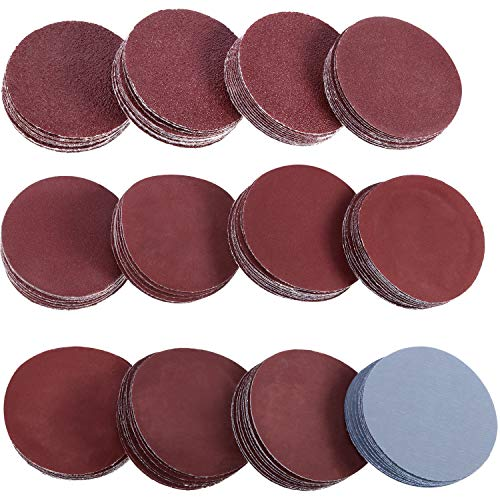 Zhehao 2 Inches 120 Pieces Sanding Discs Pad Hook and Loop Sandpaper Disc for Drill Grinder Rotary Tools, 12 Different Grits (60 to 3000 Grit, 10 Pieces Each Grit)