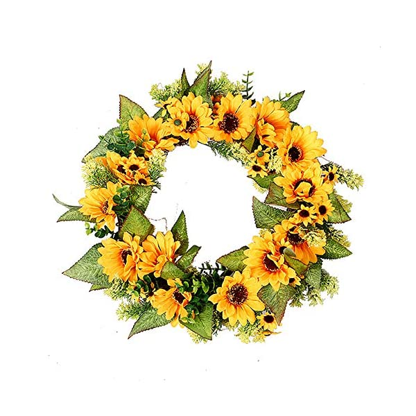 Simulation Sunflower Wreath Yellow Flowers Green Leaves Usual Front Door Fruit Garland Handmade Fall Leaf Wall Window Hanging Pendant Wreath for Home Party Front Door Hotel Mall Ornaments,18 inches