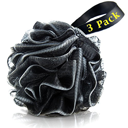 Bath Loofahs Sponge Shower Pouf Body Scrubber Ball Mesh Pouf Bath Sponge 3 Pack ()
