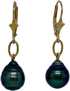 Boucles d'oreilles dormeuses Vénus Perle de Tahiti. OR 750 Bleu-vert BOTAH8822