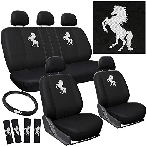 Motorup America Embroidered White Wild Stallion Horse Texas Mare Bronco Auto Seat Cover Full Set - Fits Select Vehicles Car Truck Van - Seat Belt Beetle