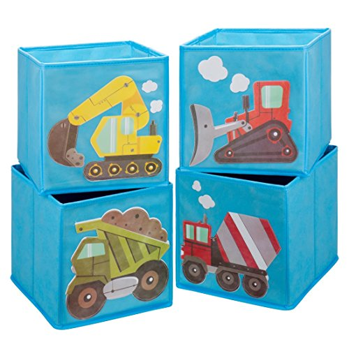 Ava & Kings Foldable Fabric Storage Cube Container Bins Shelf Drawers - Kids' Light Blue Construction Theme Toy Box Organizer for Boys Girls - Fits 11x11 to 13x13 Cubical Shelves - Set of 4 (Cube Monster)