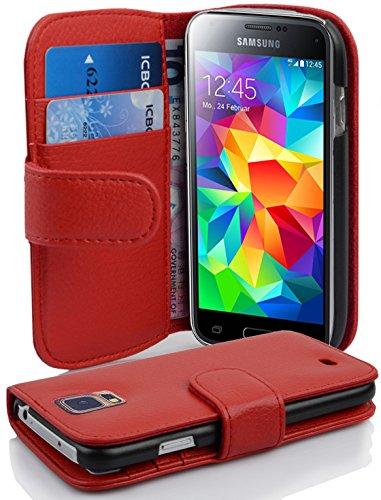 Cadorabo - Funda Samsung Galaxy S5 MINI / S5 MINI DUOS Book Style de Cuero Sintético en Diseño Libro - Etui Case Cover Carcasa Caja Protección con Tarjetero en NEGRO-ÓXIDO ROJO-INFIERNO