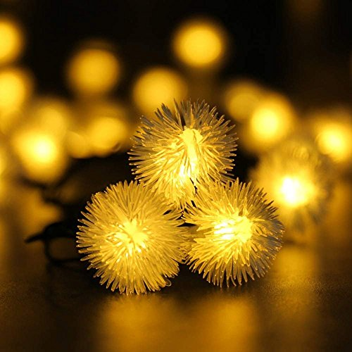 LuckLED Christmas String Lights, Chuzzle Ball 23ft 50 LED Solar String Lights, Xmas Decorations for Indoor and Outdoor Home Garden Patio Wedding Holiday Halloween Warm White