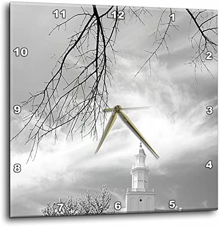 3dRose DPP_47487_1 St. George LDS Temple in Black and White with Wispy Clouds Wall Clock, 10 by 10-Inch