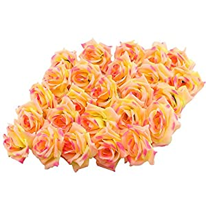 Topixdeals Silk Cream Pink Roses Flower Head, Artificial Flowers Heads for Wedding Flowers Accessories Make Bridal Hair Clips Headbands Dress 27
