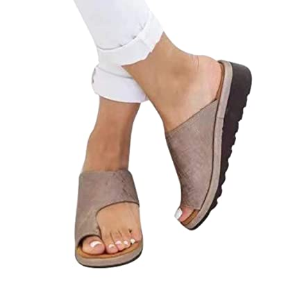 Amazon.com: feileng Comfortable Summer Beach Travel Slippers Shoes Women Comfy Platform Sandal Shoes Teacalgary for Big Toe Bone Correction: Home & Kitchen