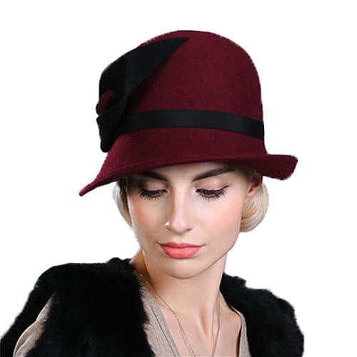 Donna Ragazze Moda Autunno Inverno Un Lato Arrotolato Fiore Cappello A Cilindro Cappello Di Feltro