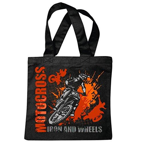 Borsa Tracolla Ferro E Ruote Sport Estremi Motocross Outdoor Motocross Bici Cross Bike Freestyle Shopping Bag Sacchetto Di Scuola Borsa Girevole In Nero