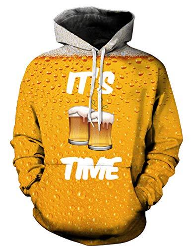 Cappuccio Felpa C Goodstoworld Time Stampata Colorata Felpe beer Grafica Con Donna Unisex 3d Divertente Uomo tq7U57Zw