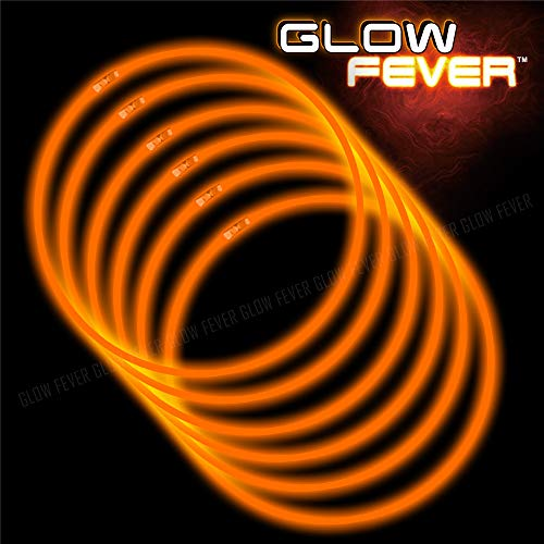 Glow Sticks Bulk 50ct 22inches Necklaces with 50 Pieces Connectors - Orange for Party, Festivals, Raves, Birthday, Wedding ()