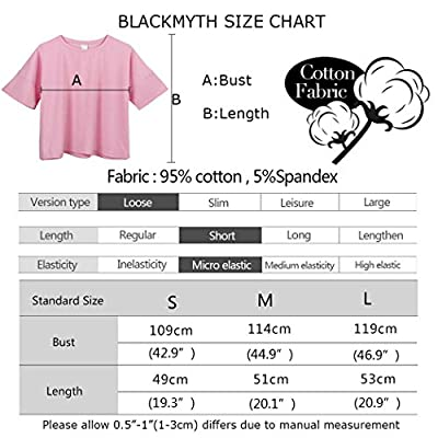 BLACKMYTH Women's Loose T Shirt Short Sleeve Graphic Crop Top Tees