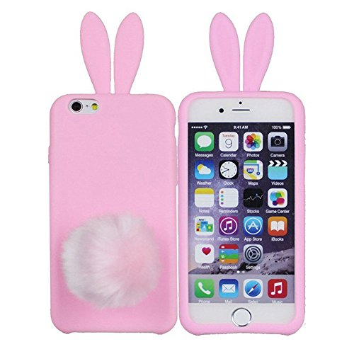 Furry Bunny (iPhone 6/6s Cover,Hecheng Cute Long Ear Rabbit with Furry Tail Silicone Bunny Case for Apple iPhone 6 4.7 inch-Pink)