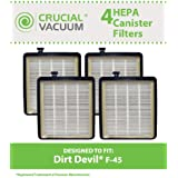 4 Dirt Devil Style F45 HEPA Canister Filters for Pets & EZ Lite Canister Vacuums;Compare to Dirt Devil Vacuum Part No. 2KQ0107000; Designed & Engineered By Crucial Vacuum
