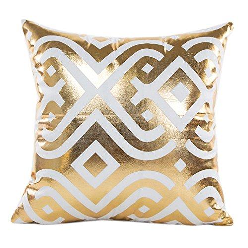 Super Soft Throw Pillow Case Cover Gold Foil, FreshZone Christmas Pillow Covers 18x18 Xmas Pillow Case Decorative (Gold I)