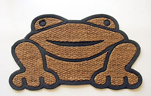 Geo Crafts Rubber Back Shaped Frog-Flat Weave Doormat