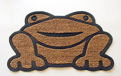 - Geo Crafts Rubber Back Shaped Frog-Flat Weave Doormat