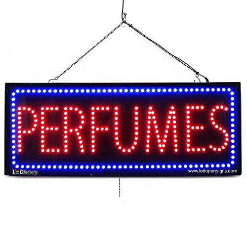 Large LED Window Open Sign - PERFUMES - Extra Bright, Can be seen Through Tinted Windows - 13