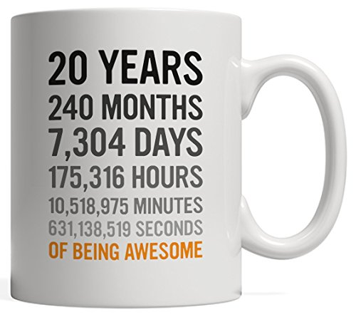 20th Birthday Gift 20 Twenty Years Old, Months, Days, Hours, Minutes, Seconds of Being Awesome! Anniversary Bday Mug For Young Adults, Son Daughter, Guy or Girl - From Mom Dad!