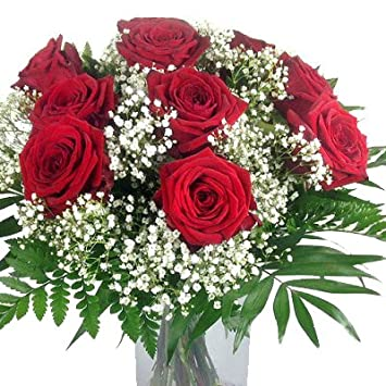 Blumenstrauss Rote Rosen Mit Schleierkraut Und Schnittgrun 10x Xl