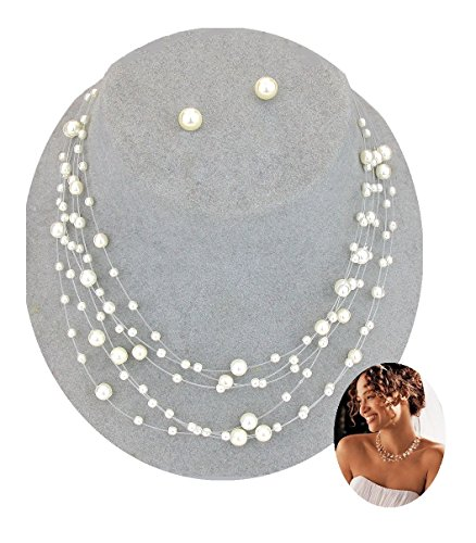 Multi-strand Pearl Illusion Necklace Set Floating Boxed (Dr#4) (Ivory) (Ivory Womens Necklace)