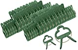 "McKay 20 Piece Efficient Gardening Support Stem Spring Clips for Flowers & Plants- 1"" & 1-1/2"" Clips Included - Green"