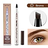 Eyebrow Tattoo Pen- Microblading Eyebrow Pencil Waterproof & Smudge-Proof With Four Micro-Fork Tips Applicator for Daily Natural Eye Makeup (02#Brown)