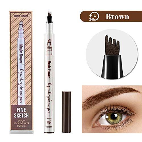 Tattoo Eyebrow Pen Waterproof Ink Gel Tint with Four Tips, Long Lasting Smudge-Proof Natural Hair-Like Defined Browns All Day (Brown)