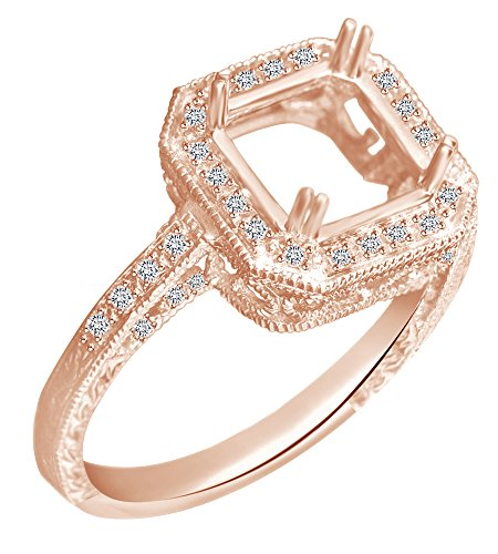 - AFFY Round Cut White Natural Diamond 8X8mm Semi Mount Engagement Ring in 14K Solid Rose Gold